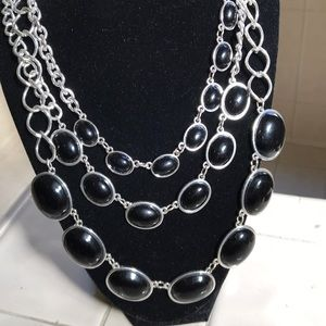 Black and silver chunky three-strand necklace